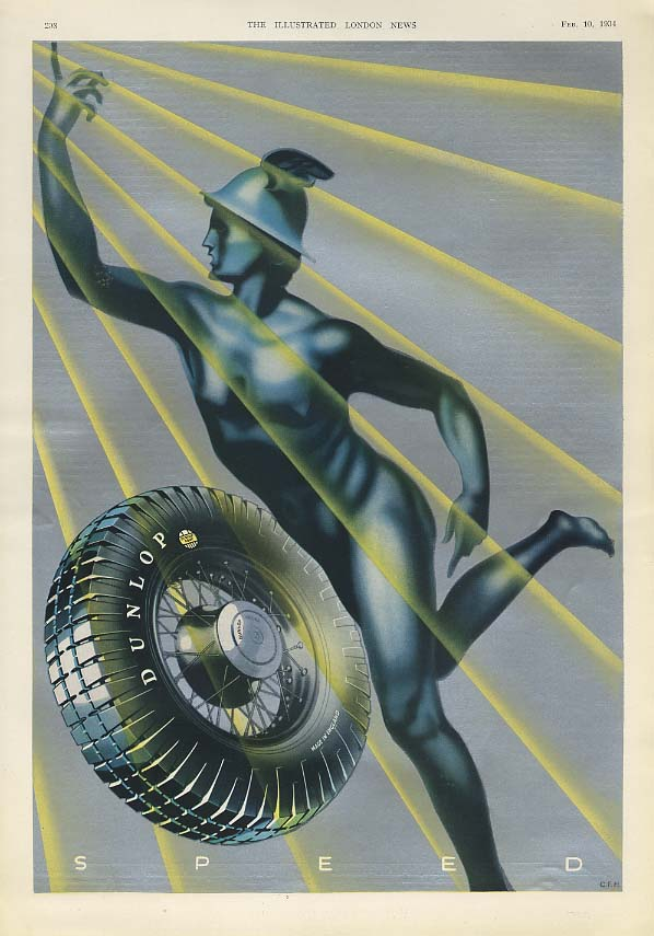 Image for SPEED - Dunlop Tires figure of Mercury ad 1934 ILN