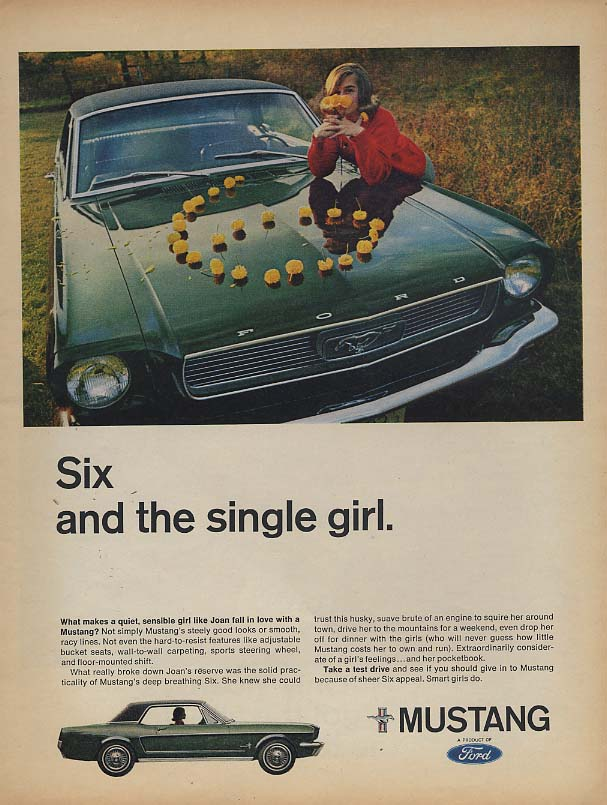 Image for Six and the single girl Ford Mustang ad 1966 L