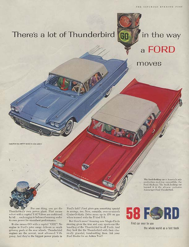 Image for There's a lot of Thunderbird in the Ford Skyliner ad 1958 P