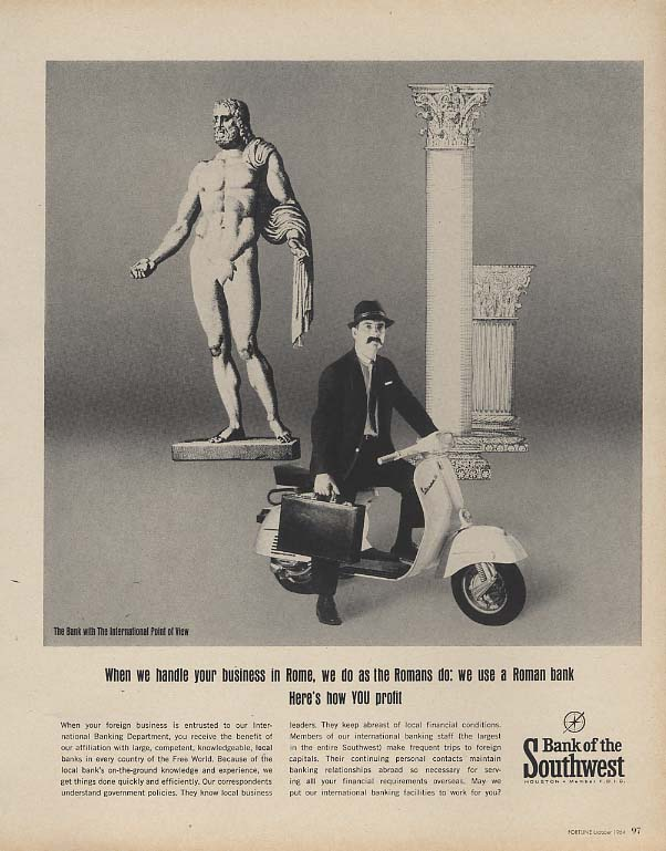 Image for We handle your business in Rome - Bank of the Southwest ad 1964 Vespa scooter