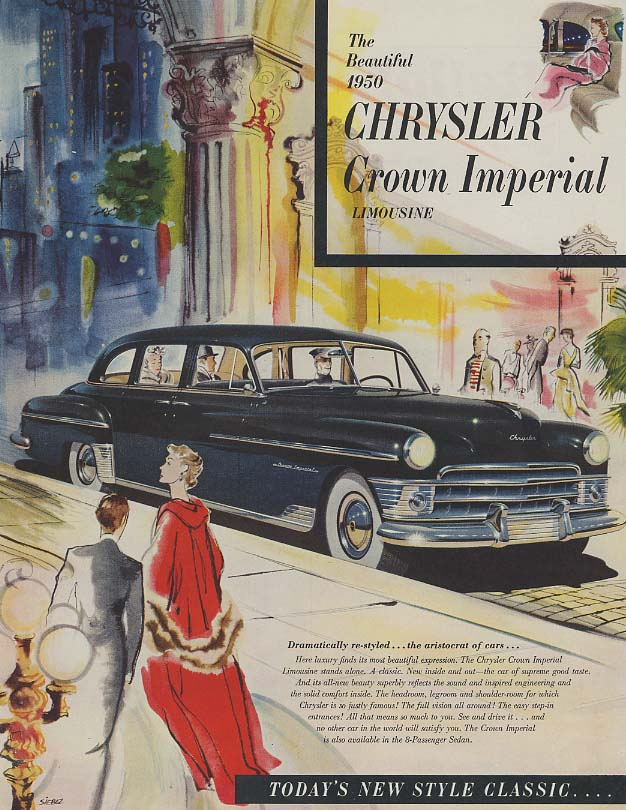 Image for The Beautiful 1950 Chrysler Crown Imperial Limousine ad SEP