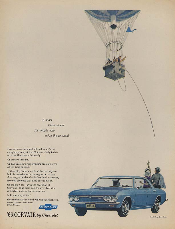 For people who enjoy the unusual Corvair Monza ad 1966 L