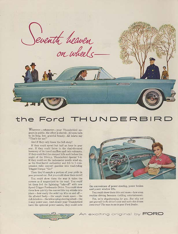 Image for Seventh heaven on wheels - Ford Thunderbird ad 1955 H