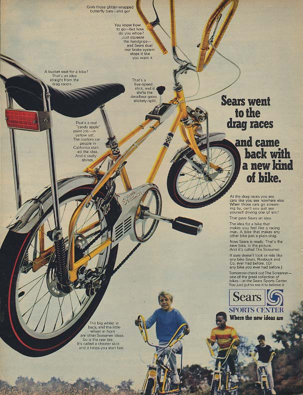 Sears went to the drag races and came back with the Screamer Bicycle ad 1968 BL