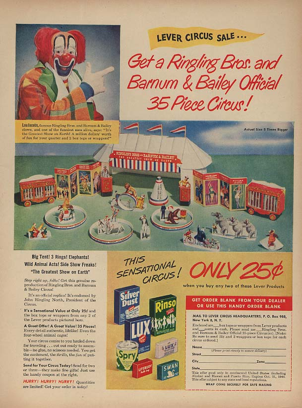 Get a Ringling Bros 35-piece Circus set from Lever Brothers MAGAZINE ad 1948 L