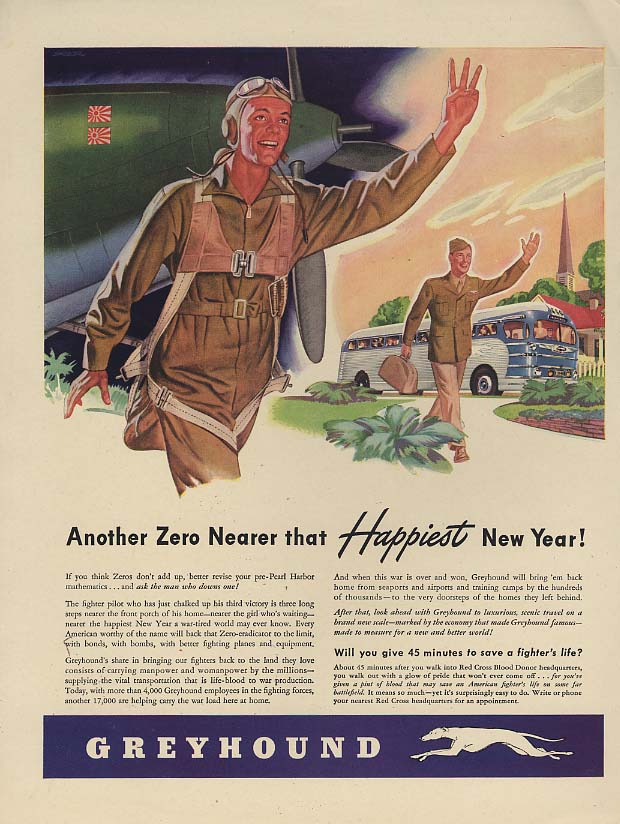Another Zero nearer that Happiest New Year! Greyhound Bus ad 1943 L