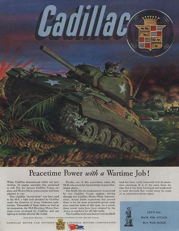 Peacetime Power with a Wartime Job! Cadillac M-5 Tank ad 1945 Col