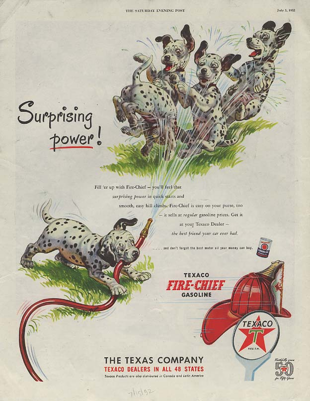 Image for Surprising power! Texaco Gasoline ad 1952 dalmatian pups play with hose SEP