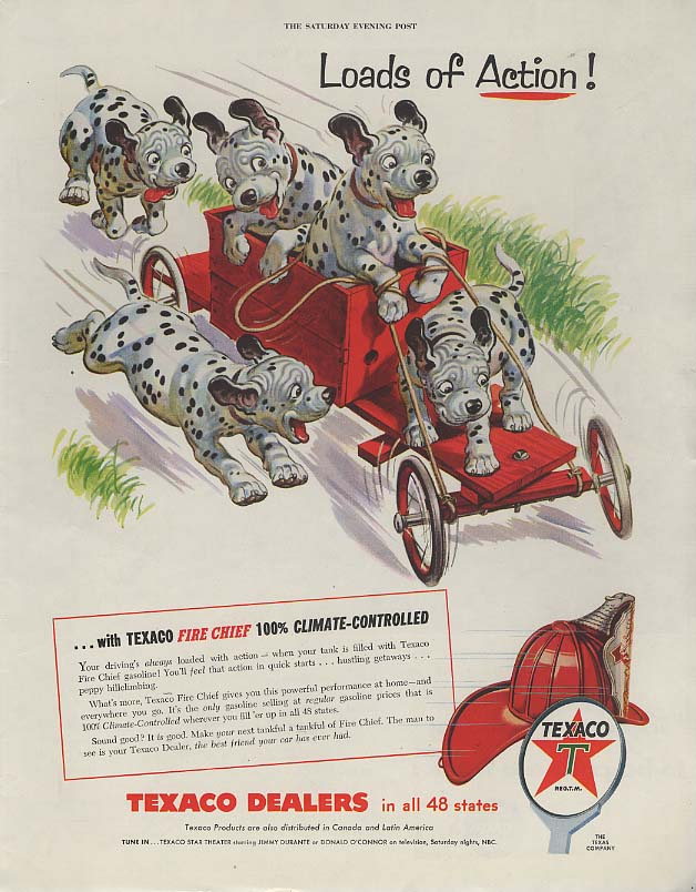 Image for Loads of Action! Texaco Gasoline ad 1955 dalmatian pups on go-kart SEP