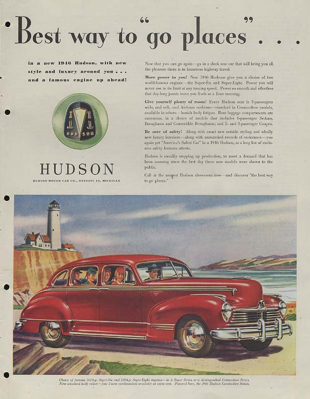 Best way to go places - Hudson Super Eight Sedan ad 1946 SEP