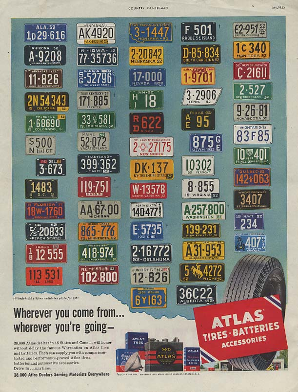 Image for Wherever you come from Atlas Tires license plate ad 1952 CG