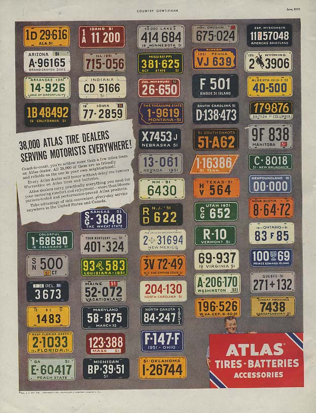 38,000 Atlas Tire dealers serving everywhere ad 1951 license plates CG