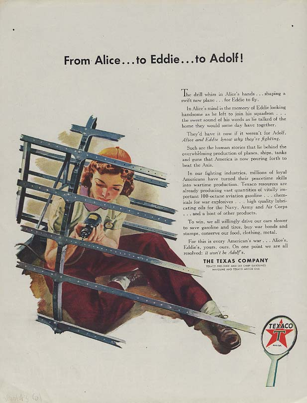 Image for From Alice - to Eddie - to Adolf! Texaco woman war worker ad 1943 Col