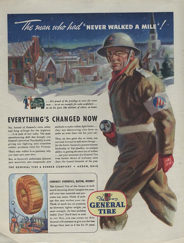Image for The man who never walked a mile Civilian Defense patrol General Tire ad 1943 Col