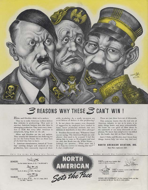 3 Reasons why these 3 can't win! North American ad 1942 Arthur Szyk Hitler SEP
