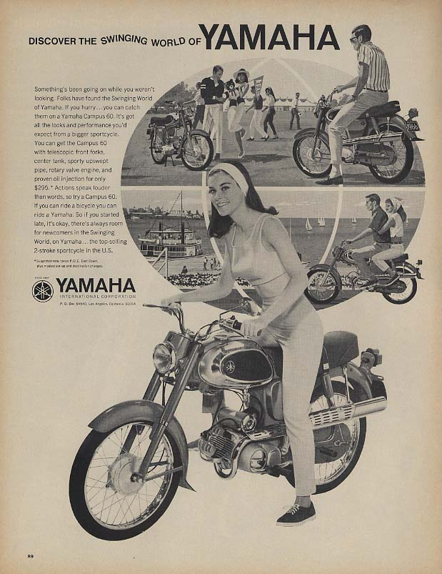 Discover the swinging world of Yamaha Campus 60 Motorcycle ad 1966 L