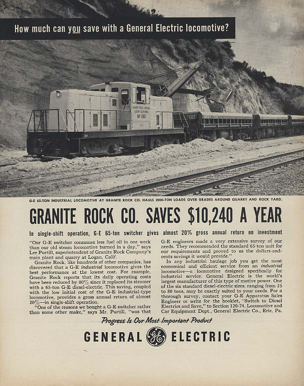 General Electric Industrial Locomotive for Granite Rock Company ad 1955 F