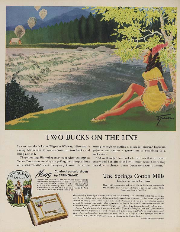 Two Bucks on the Line Springmaid Sheets ad 1951 Indian maiden double-entendre