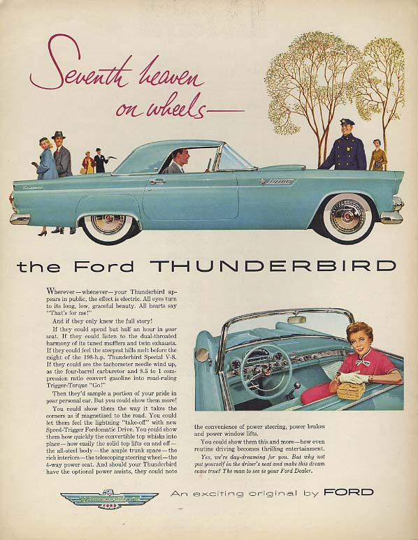 Image for Seventh heaven on wheels - Ford Thunderbird ad 1955 F