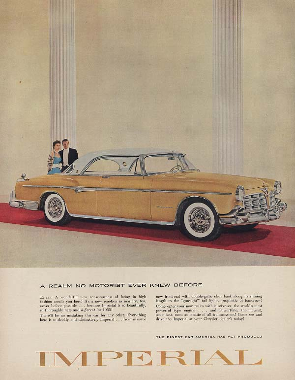 Image for A realm no motorist ever knew before Imperial by Chrysler 2rd HT ad 1955 F