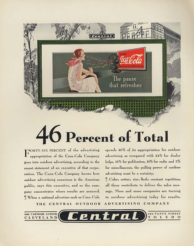 46 Percent of Total Pause that Refreshes Coca-Cola Central Billboard ad 1930 F