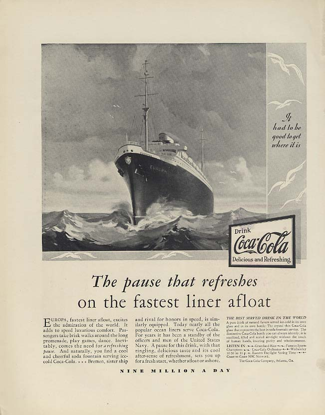 Coca-Cola Pause that Refreshes on Norddeutscher Lloyd S S Europa ad 1930 F