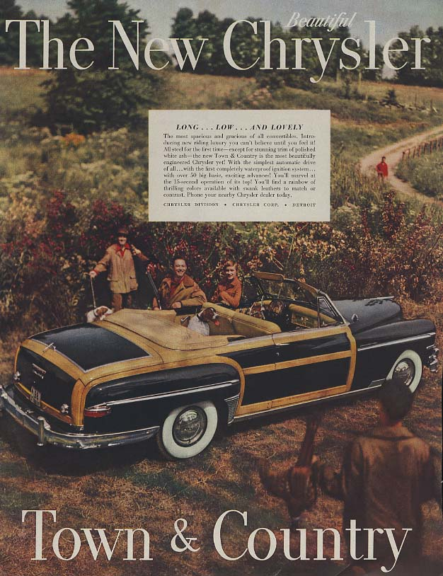 Image for Long low & lovely New Chrysler Town & Country Convertible ad 1949 H