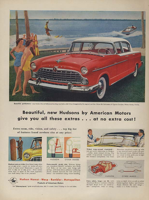 Beautiful new Hudson Hornet gives you all these extras ad 1955 L