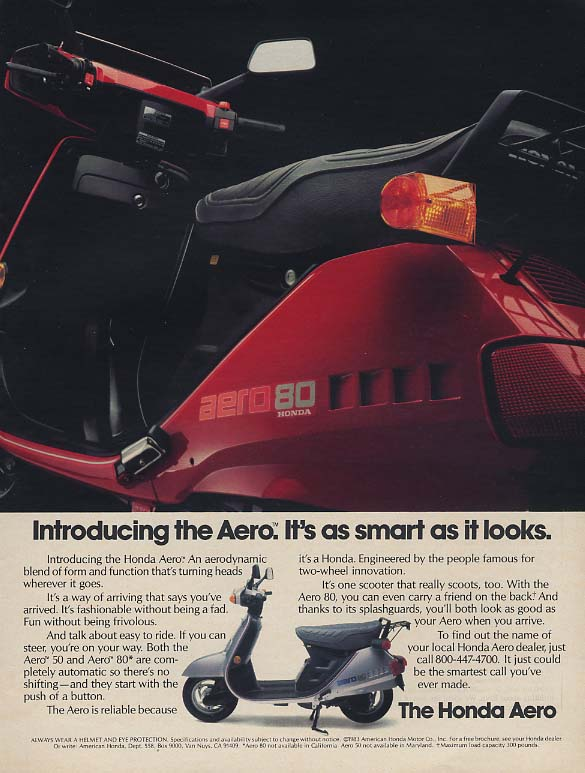 Image for It's as smart as it looks. Introducing the Honda Aero Motorscooter ad 1983