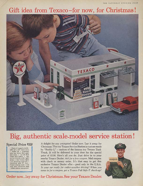 Big authentic scale-model Texaco Service Station MAGAZINE AD 1960 SEP