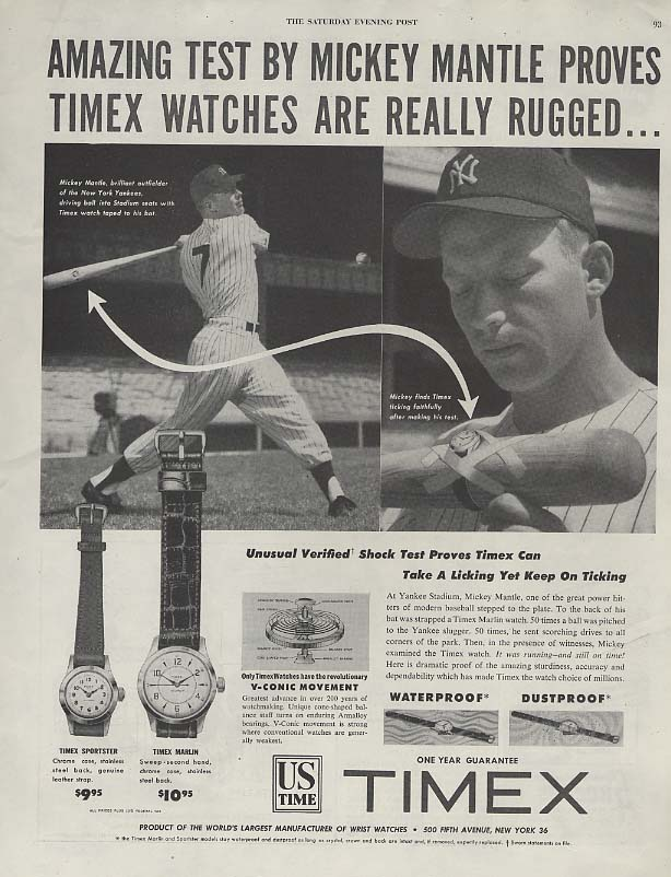 Amazing test by Mickey Mantle proves Timex Watches are Rugged ad 1953 SEP