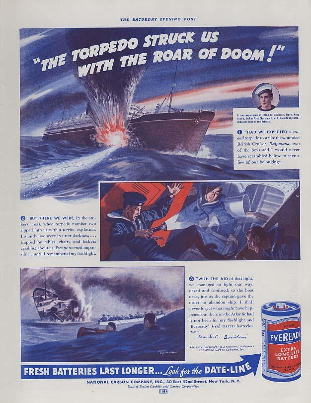 Image for The torpedo struck H M S Rajputana - Eveready Flashlight Batteries ad 1941 P