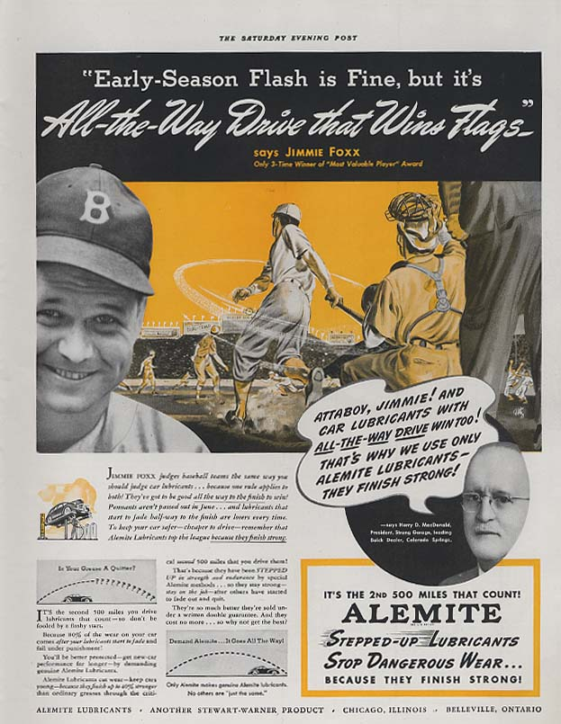 All-the-Way Drive wins Flags - Jimmie Foxx for Alemite Lubricants ad 1941 SEP