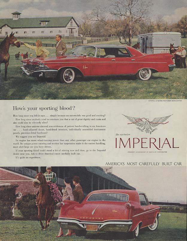 Image for How's your sporting blood? Imperial by Chrysler ad 1960 SEP