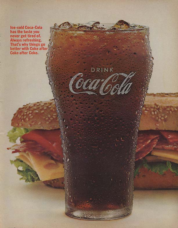 Always refreshing The taste you never get tired of Coca-Cola ad 1966 hoagie Lk