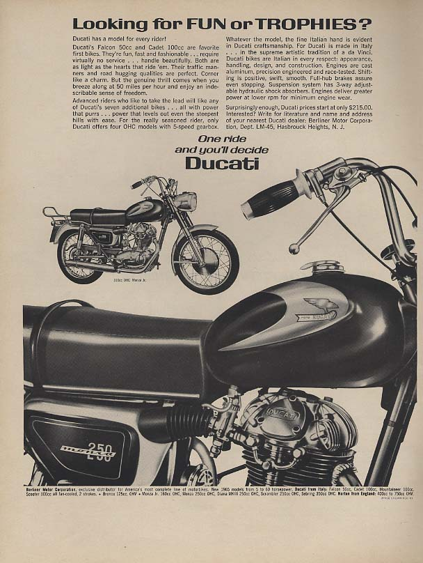 Image for Looking for fun or trophies? Ducati Monza 250 Motorcycle ad 165 L