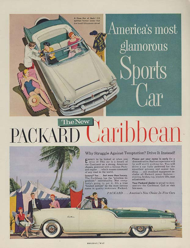 America's most glamorous Sports Car - Packard Caribbean ad 1954 H