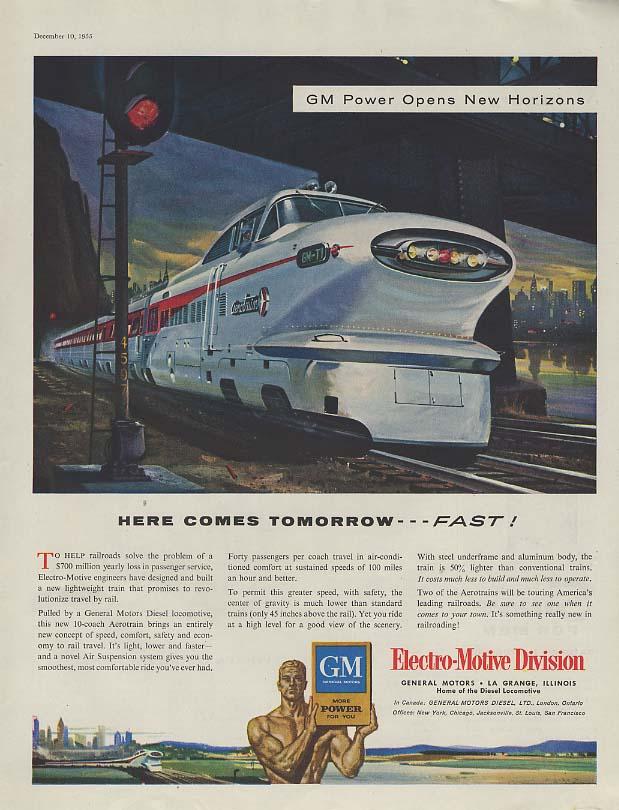 Here comes tomorrow - FAST! GM Electro-Motive Aerotrain ad 1955 SEP