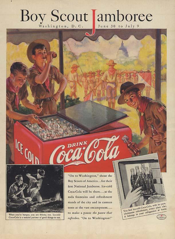 Boy Scout Jamboree Washington DC Coca-Cola ad 1937 L