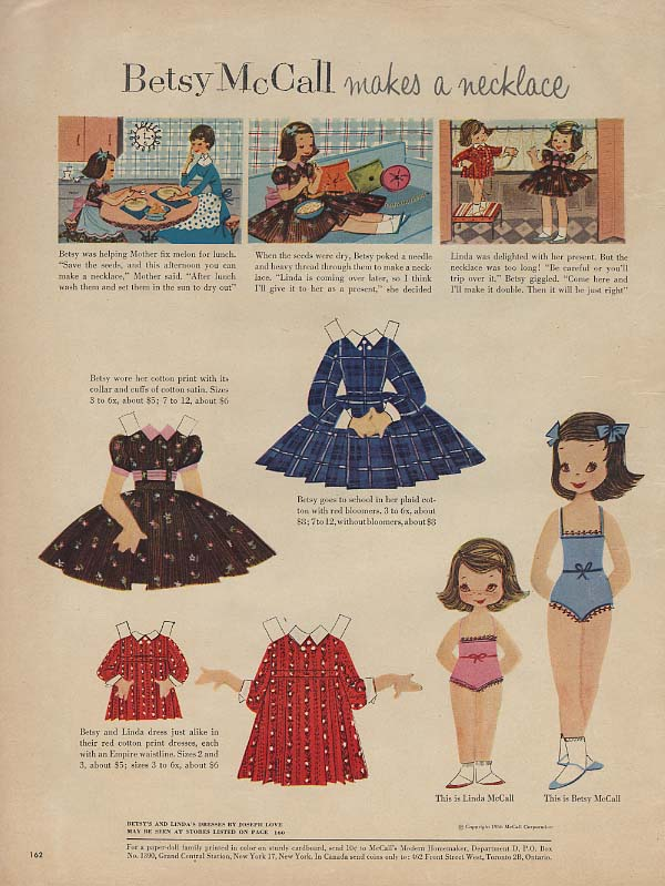Betsy McCall makes a necklace paper doll page McCall's 9 1956