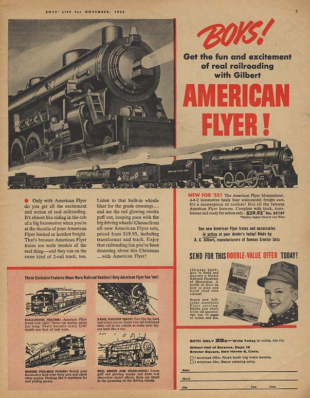 American Flyer electric trains / Huffy Radiobike bicycle ad 1955 BL