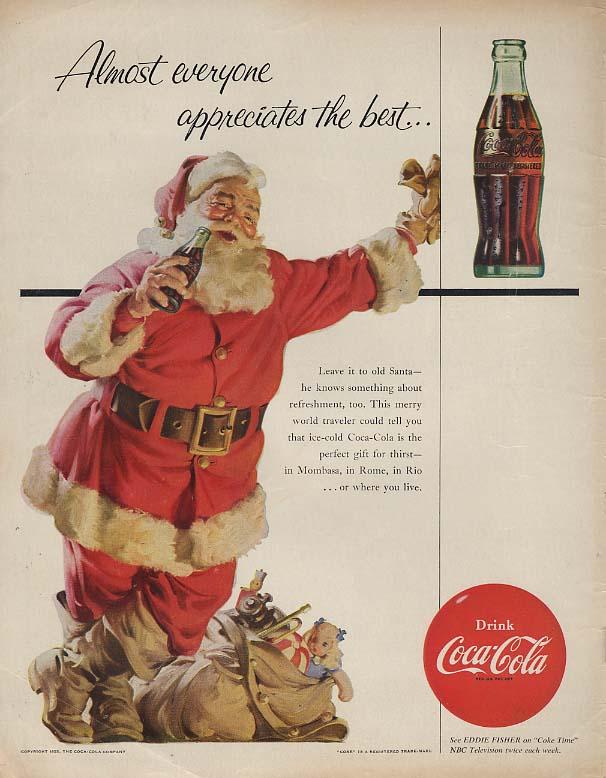 Almost everyone appreciates the best Santa Claus on a Coca-Cola break ad 1955 BL