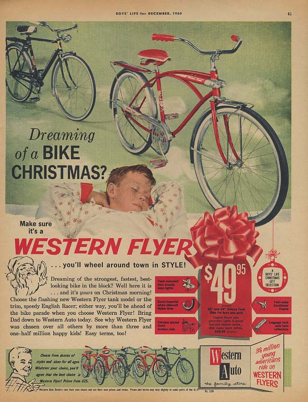 Dreaming of a bike for Christmas? Western Flyer bicycle ad 1960 BL