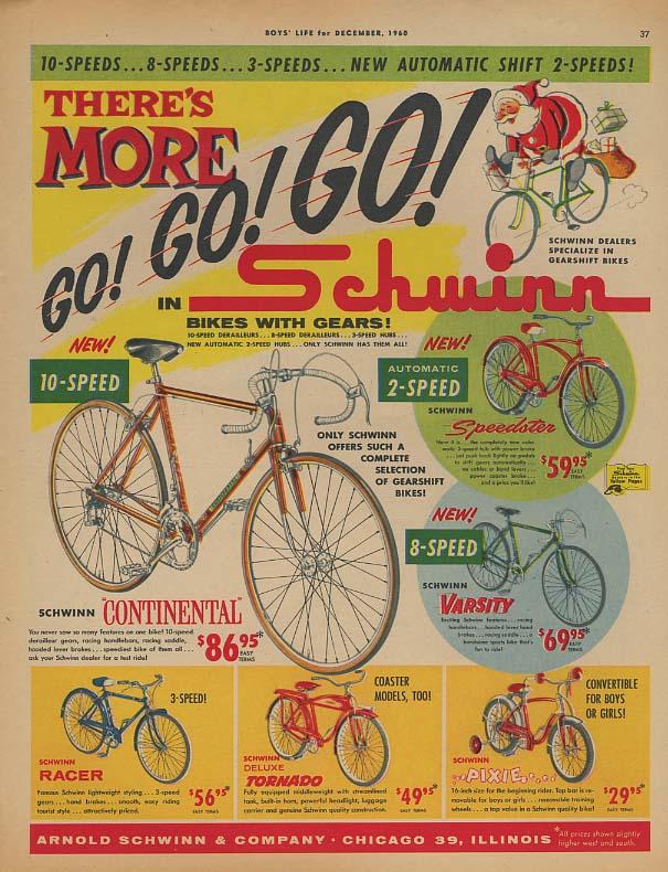 More Go! Schwinn Continental Speedster Pixie Tornado bicycle ad 1960 BL