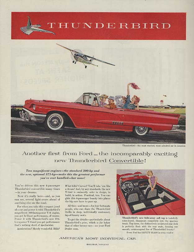 Another 1st from Ford - incomparably exciting Thunderbird convertible ad 1958 H