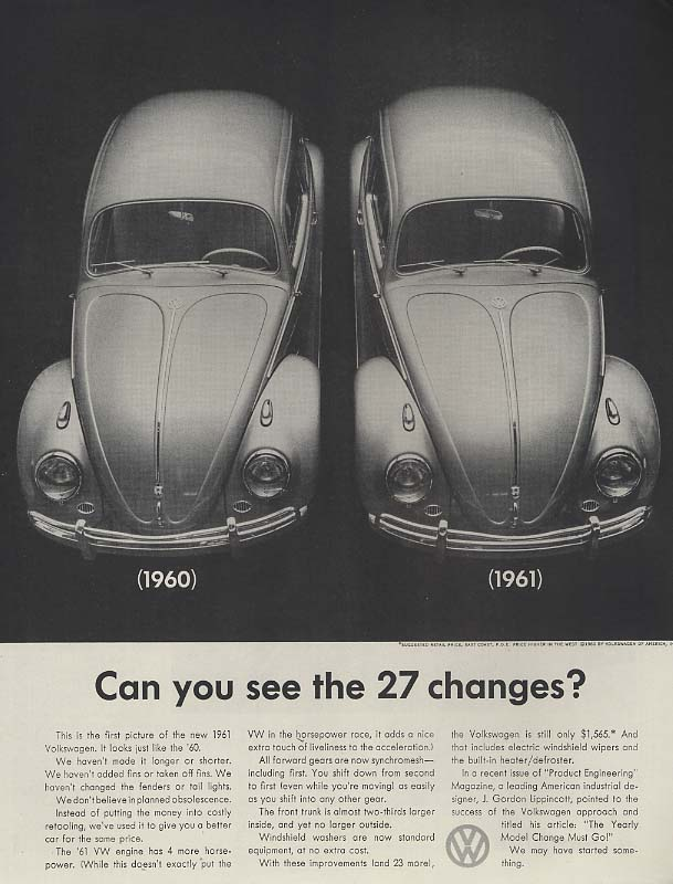 Can you see the 27 changes? Volkswagen ad 1961 H
