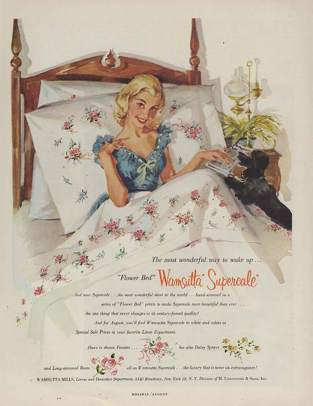 Flower bed Wamsutta Supercale sheets ad 1956 Gannam blonde in bed poodle