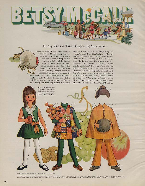 Betsy McCall Has a Thanksgiving Surprise paper doll page McCall's 11 1969