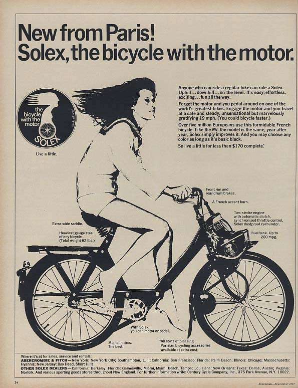 New from Paris! Solex, the bicycle with the motor ad 1967 17