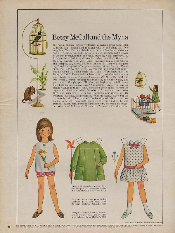 Betsy McCall and the Myna Bird paper doll page 1967
